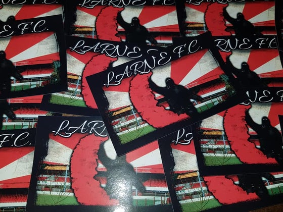 Image of Larne FC Casuals/Ultras 10x6cm Football Stickers. Pack of 25.