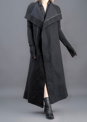 Image of Overlong Funnel Neck Lapel Jacket In Wool