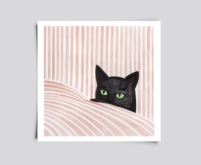 Image of Black cat in sheets