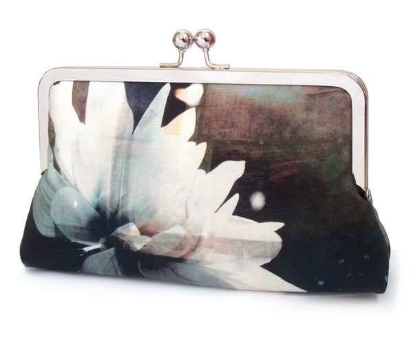 Image of black & white flower clutch