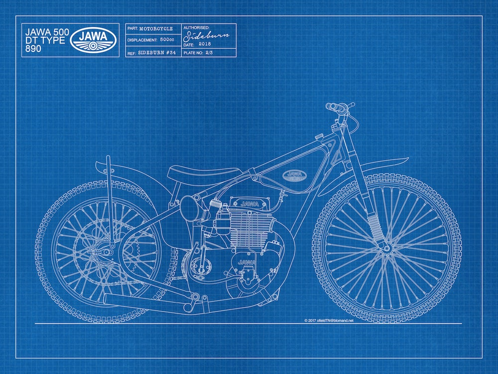 Image of Jawa 500DT Speedway Giclee Blueprint