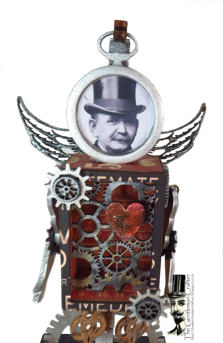 Image of Steampunk Mixed Media Figure on Stand