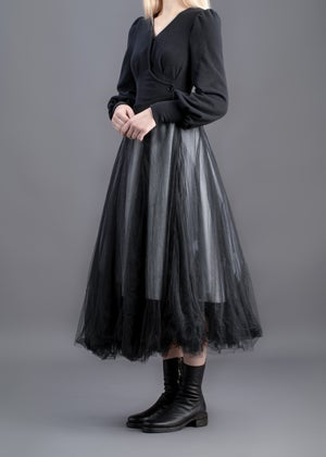 Image of Quadruple Layers Tulle Skirt- Black & White