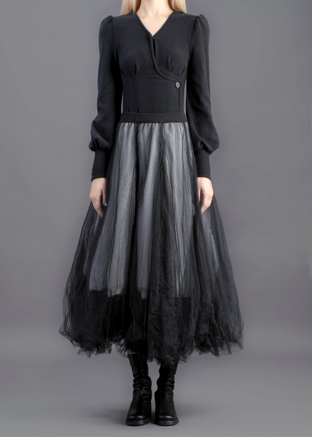 Image of Quadruple Layered Tulle Skirt  Black & White