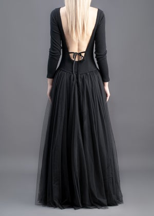 Image of Sophie Tulle Long Dress Black