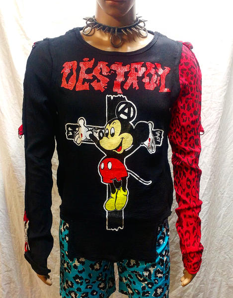 Image of Destroy crucified Mickey black bondage shirt with 1 red leopard print sleeve