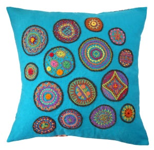 Image of Linen Fabric Square for Crewel Embroidery - Turquoise