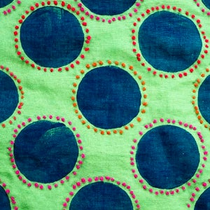 Image of Linen Fabric Square for Crewel Embroidery - Grass Green