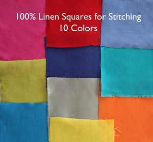 Image of Linen Fabric Square for Crewel Embroidery - Tangerine