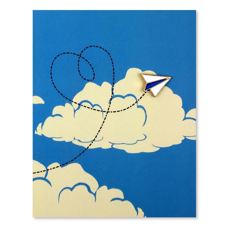 Image of Plane Love Enamel Pin Greeting Card