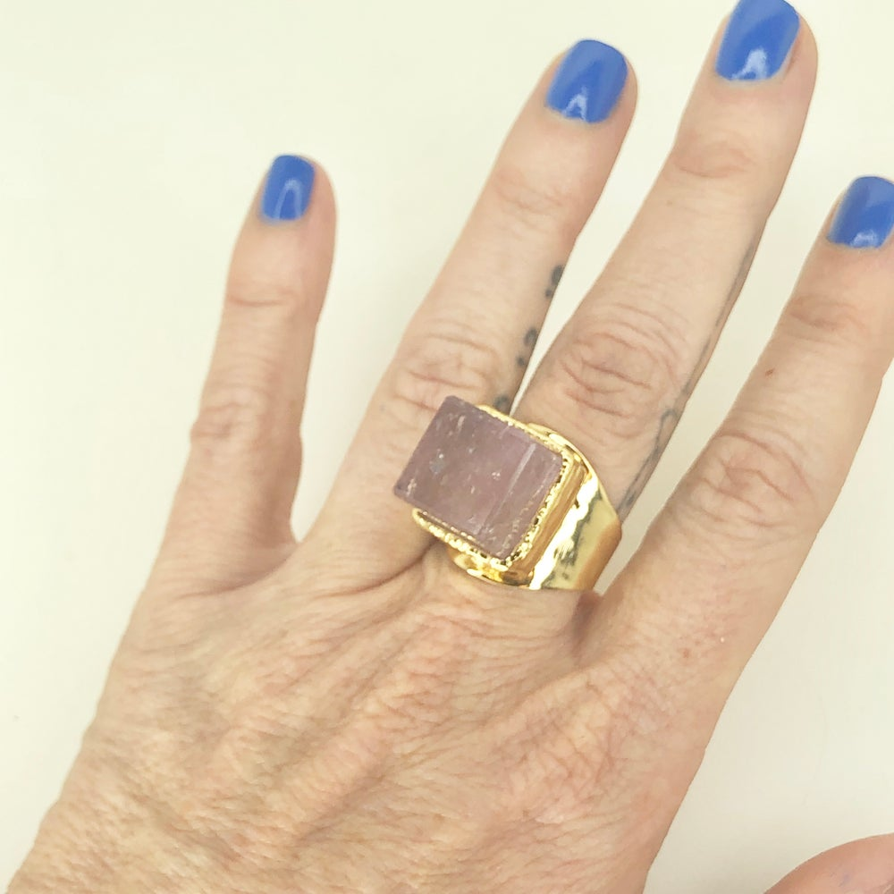 Image of Square Amethyst Ring (w/rainbow inclusion)