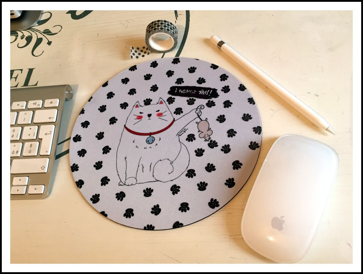 "Image of Mouse Pad tondo mm 3 - tappetino mouse Mad Cat ""I never fail"" stampato a mano"
