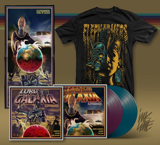 Image of Pre-order! Lords of Galaxia - violet/cyan vinyl + Robogirl T-shirt