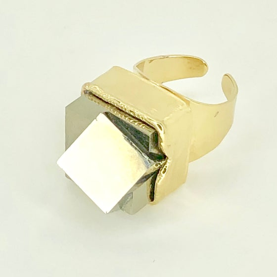 Image of Cube on cube pyrite ring