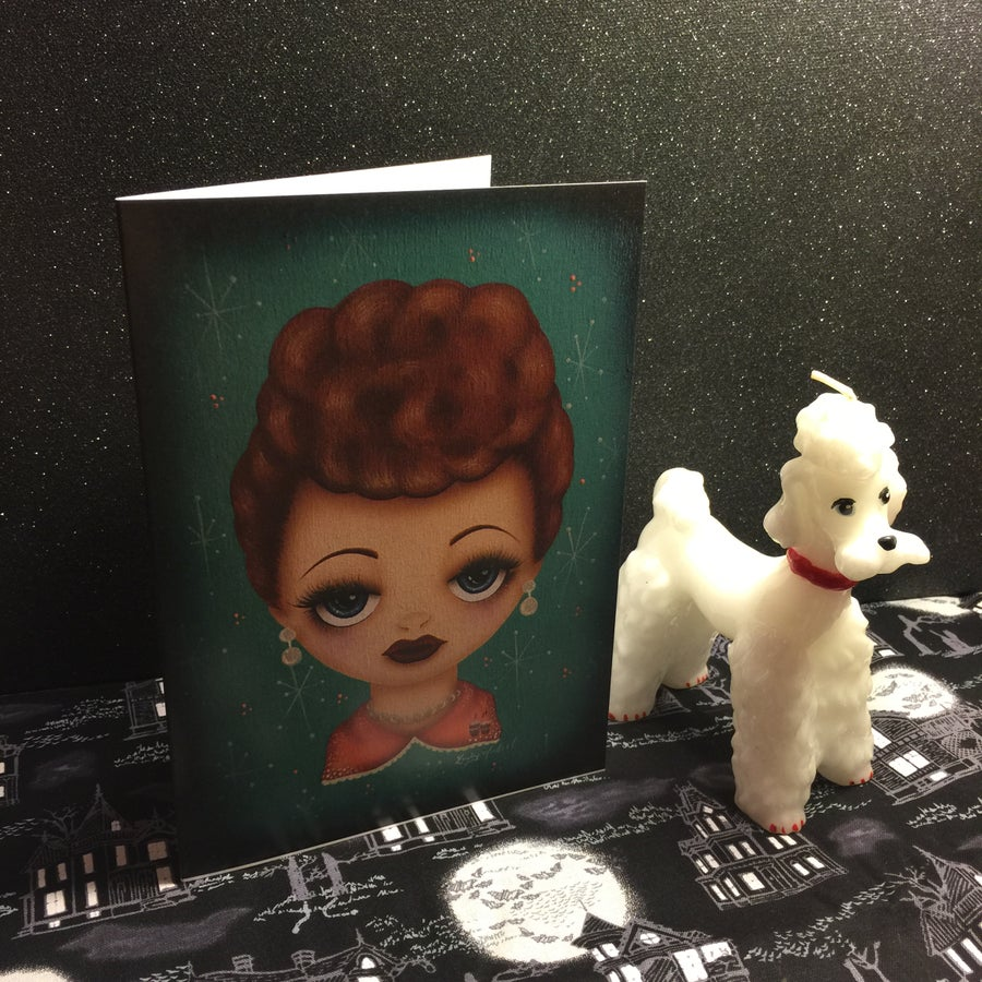 Image of Big Eyes Lucille Ball 5x7 Blank Valentine Greeting Card