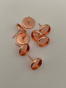 Image of 10 x 10mm rose gold studs and backs