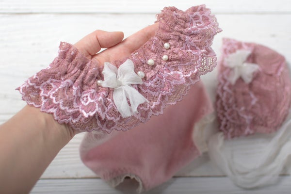 Image of Alessia mauve romper or bonnet / two sizes