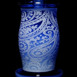 Image of Blue and White paisley bubbler