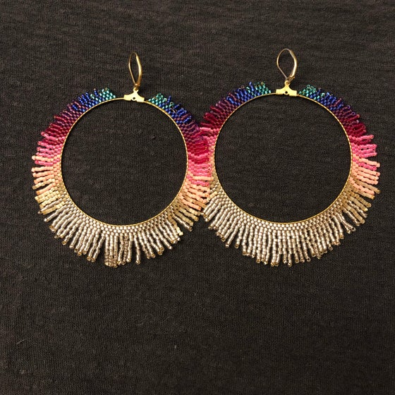 Image of Rainbow fringe hoop earrings