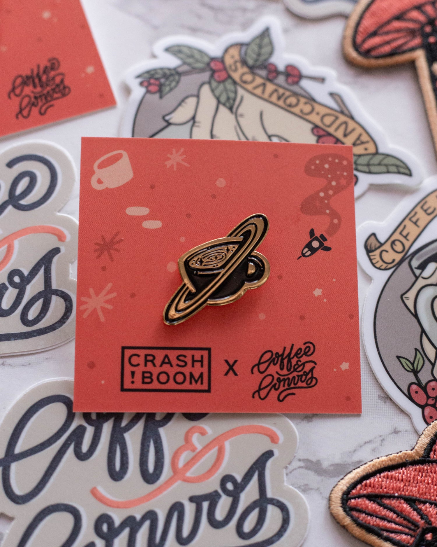 Image of Coffee Orbit Pin by CrashBoomDesigns! for C&C