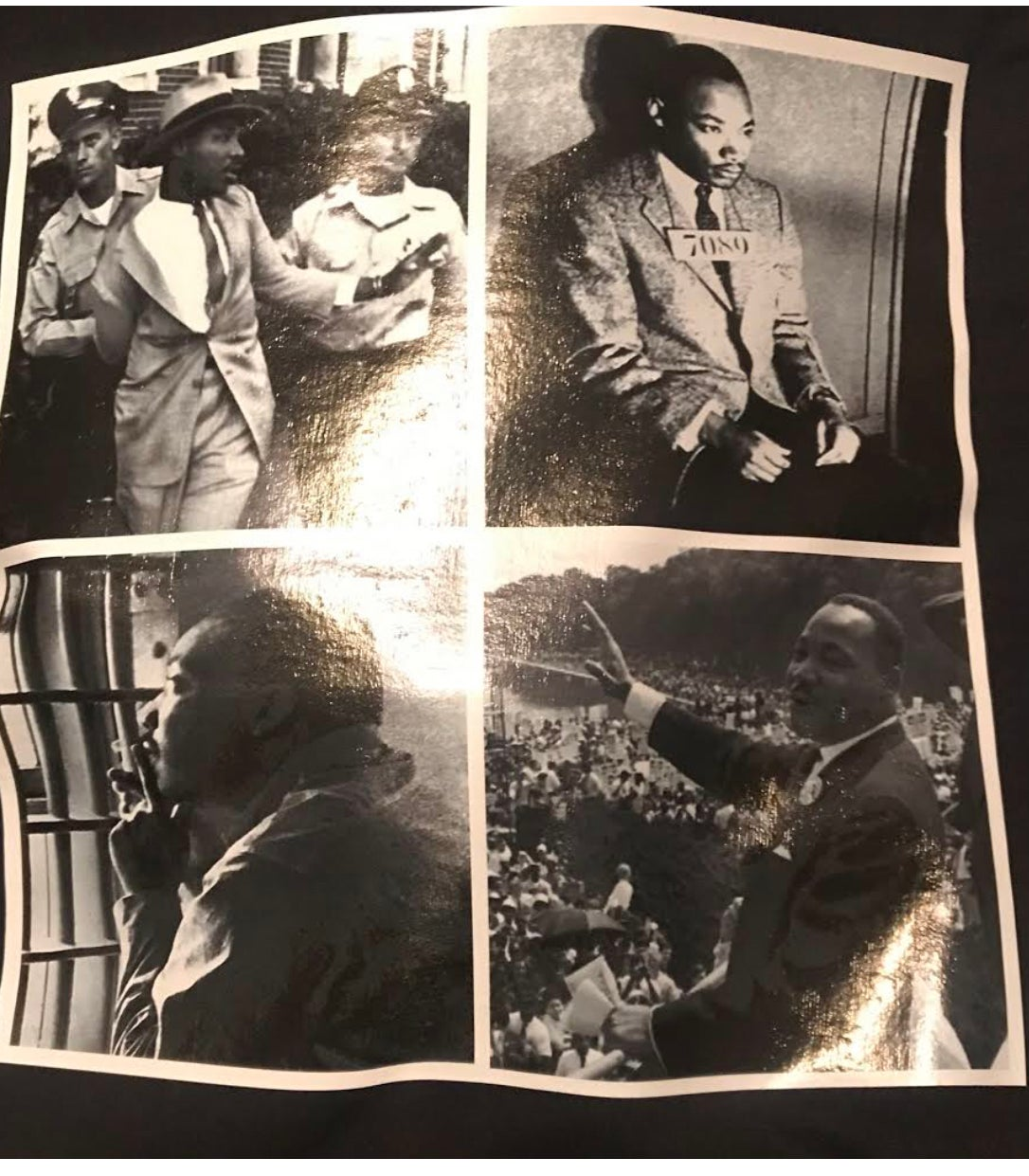Image of MARTIN LUTHER KING JR COLLAGE PICTURE WITH MLK QUOTE ON THE BACK
