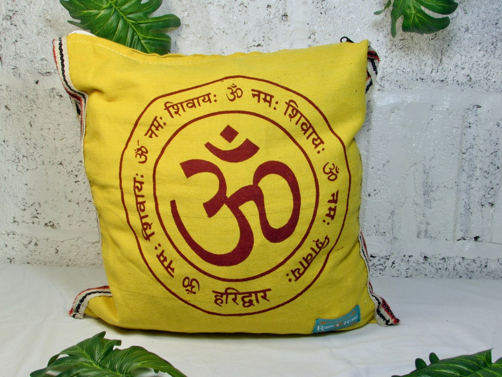 Yellow OM Tote Bag w/ Zip | Eco Friendly | Reusable | Shopping Bag | Canvas Bag | Meditation |