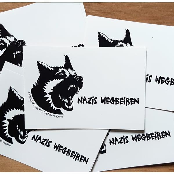 "Image of ""NAZIS WEGBEIßEN""   Sticker   Antifa   ACAB   feminist   fck nzs   fight fascism   1312  "