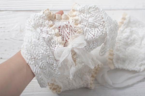 Image of Rosalie romper or bonnet / three sizes
