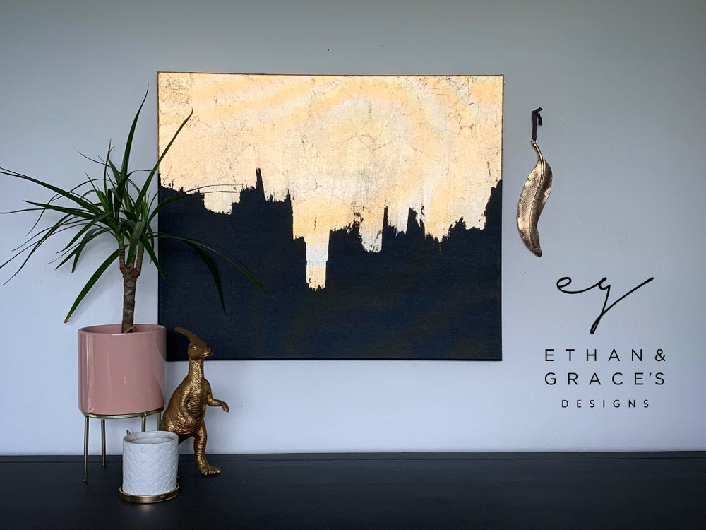 Image of Large black & gold leaf canvas designed by Ethan & Grace's