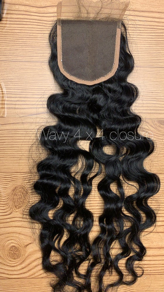 Image of  Raw Indian straight, wavy, bodywave, curly 4 x 4 & 5 x 5 Lace closure w/ bundles