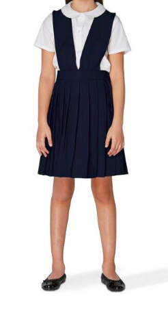 Image of Girls French Toast V-Neck Pleated Jumper - Navy & Black