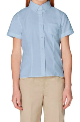 Image of Girls French Toast Short Sleeve Oxford Blouse With Princess Seams - Light Blue