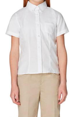 Image of Short Sleeve Oxford Blouse With Princess Seams - White