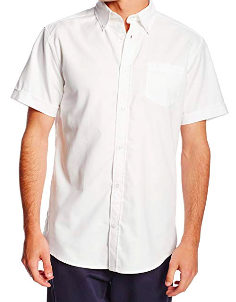 Image of Lee Uniforms Men's Short-Sleeve Oxford Shirt - White