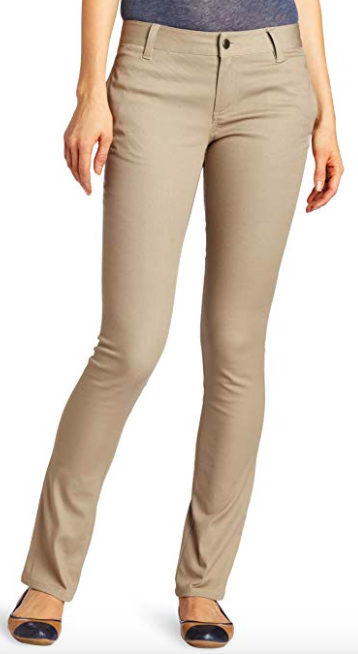 Image of Lee Uniforms Juniors Original Skinny Leg Pant - Khaki