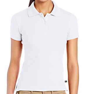 Image of Lee Uniforms Juniors' Stretch Pique Polo Shirt - White