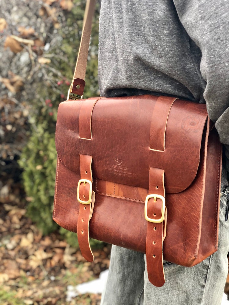 "Image of The ""Stemilt"" Leather Satchel in Horween Acorn Dublin"