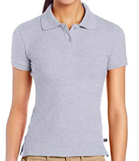 Image of Lee Uniforms Juniors' Stretch Pique Polo Shirt - Grey