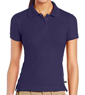 Image of Lee Uniforms Juniors' Stretch Pique Polo Shirt - Navy