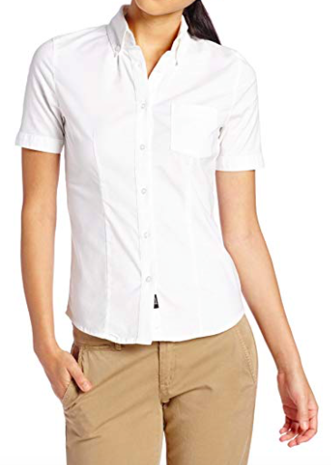 Image of Lee Uniforms Junior's' Short-Sleeve Stretch Oxford Blouse - White