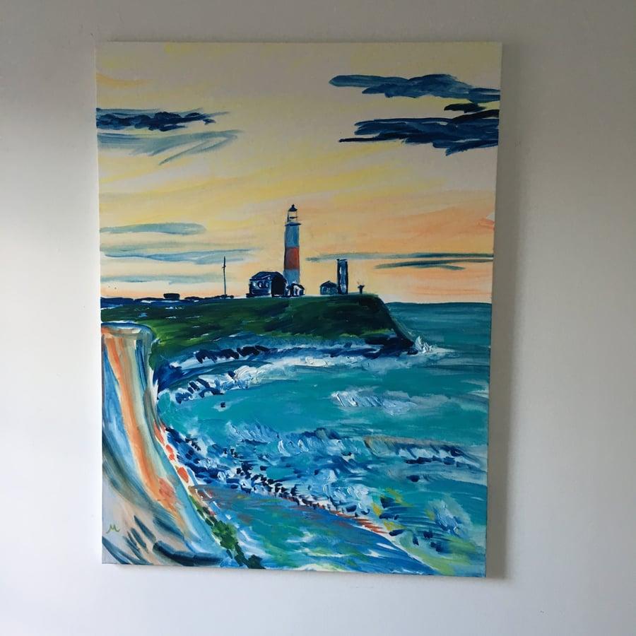 "Image of Montauk Lighthouse, 30"" x 40"" painting"