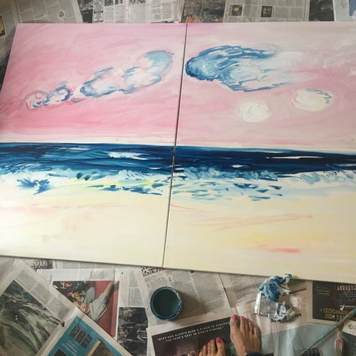 """Image of Big Pink 30"""" x 40"""" x2 (diptych, only sold as a pair)"""