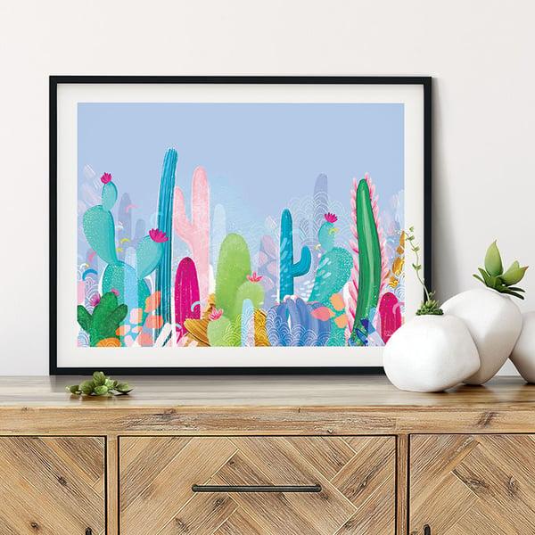 Image of Cactus Fields - Art Print - BLUE