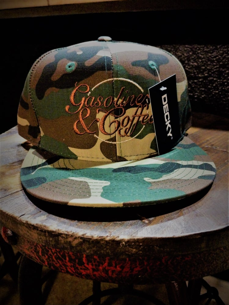 Image of Genuine Gasoline And Coffee Camo SnapBack FlatBill Decky Hat
