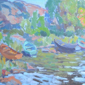Image of Mid-Century Landscape,' Rowing Boats,'