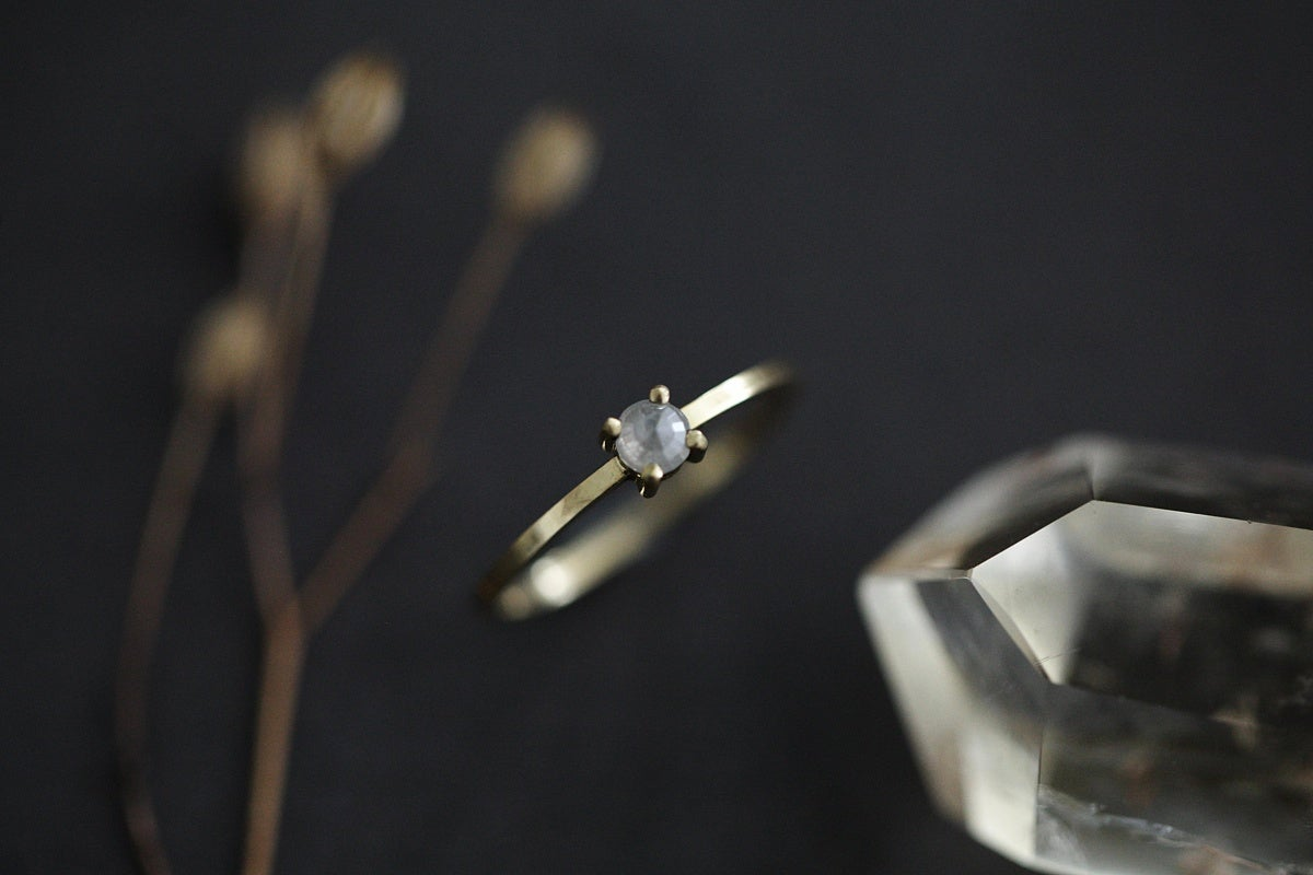 Image of 3.0mm Opaque Rose-cut diamond rings (metal options available)