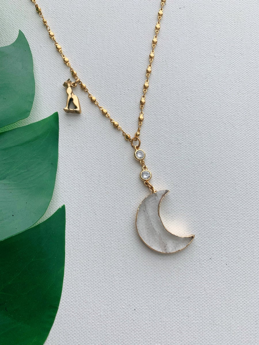 Image of MOON JUICE • Clear Quartz Moon Necklace