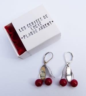 Image of Boucles Cerises Rouges - Plaqué Argent