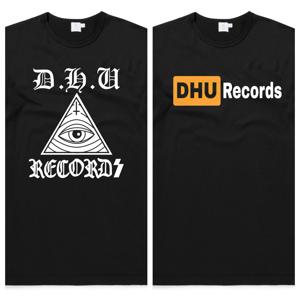Image of DHU Records Logo/DHU-HUB Vinyl porn T-shirt