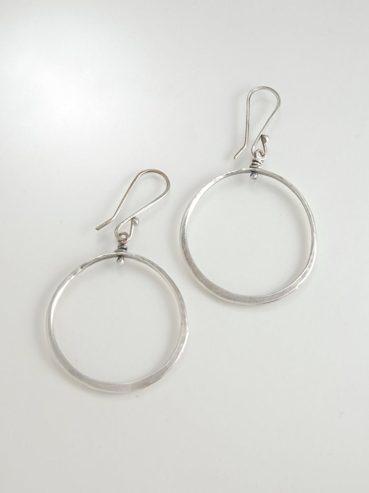 Image of Sterling Silver Spinner Hoops, Artisan Made, Hand Fabricated Earrings